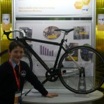 Eoghan Patwell pictured at the BT Young Scientist Exhibition next to his innovative double chain bicycle model