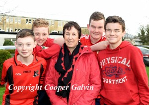 Students Eoghan Myers, Peter O'Sullivan, Adam Kelly and David Moriarty with tecxaher participating in the Wear Red in aid of Operation Resuscitation at St Brendan's College, Killarney on Friday. Photo by Michelle Cooper Galvin
