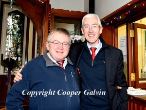 Jim O'Brien and Sean Coffey participating in the Wear Red in aid of Operation Resuscitation at St Brendan's College, Killarney on Friday. Photo by Michelle Cooper Galvin