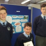 Diarmuid Cahill, Conor Sheahan and Michael Kearney with their project on water quality