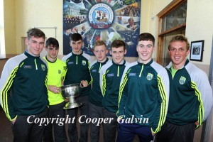Kerry Minors Billy Courtney, Daniel O'Brien, David Shaw, Evan Cronin, Gavin White, Ronan Buckley students of St Brendan's College with Trainer/Teacher Arthur Fitzgerald who brought the Tom Cup to St Brendan's College, Killarney  Photo by Michelle Cooper Galvin