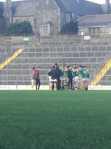 Team talk at the beginning of the game