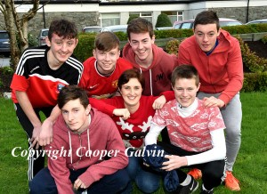 Students who organised the Wear Read Day Cian casey, Denis O'Connor, Sean O'Leary, Sean Doherty, Lorcán MacMonagle, Cian Gammell with teacher Annette O'Neill   participating in the Wear Red in aid of Operation Resuscitation at St Brendan's College, Killarney on Friday. Photo by Michelle Cooper Galvin