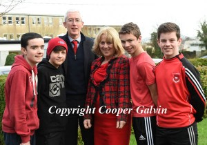 Students Jordan O'Sullivan, Ben Lyne, Ian Prendergast, Diarmuid Cahill with Principal Sean Coffey and teacher Joanna Ryan participating in the Wear Red in aid of Operation Resuscitation at St Brendan's College, Killarney on Friday. Photo by Michelle Cooper Galvin