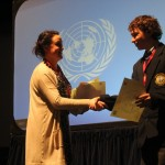 Callum Myers accepting his award for best junior delegate