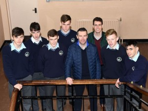 Oisin McConville and Niall McNamee with David Shaw, David O'Brien, Gavin White, Bill , P Cronin and Michael Foley at St Brendan's College, Killarney. The students of St Brendan's College where treated to a visit by well known gaa stars Niall McNamee and Oisín McConville on Wednesday morning. The two well known gaelic footballers came to the school to tell their personal stories regarding their well publicised gambling addiction. An enthralled audience of third,fifth and leaving cert students gathered in the study hall where they heard how an addiction to gambling had affected Oisín and Niall's lives. Students took the opportunity to ask questions at the end of the seminar. Photo by Michelle Cooper Galvin