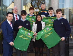 Mark and Clare Scally of The Malton presenting a set off jerseys to Dan O'Brien Captain St Brendan's Senior team and team members Billy Courtney, Niall O'Donoghue and Mark Hartnett with Sean Coiffey Principal and teacher Michael Leahy at The Malton, Killarney on Tuesday.