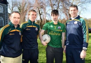 Dan O'Brien Captain St Brendan's College Senior Team with team management Hugh Rudden, Arthur Fitzgerald and Gary McGarth. Photo by Michelle Cooper Galvin