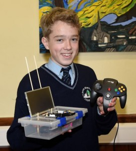 Daniel O'Sullivan with his Raspberry Pi microcomputer to use the device to allow one to download old video games at the SciFest competition in St Brendan's College, Killarney. Photo by Michelle Cooper Galvin
