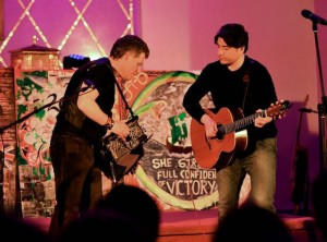 Liam O'Connor and Brian Kennedy performing in St Brendan's College, Killarney. Photo by Michelle Cooper Galvin