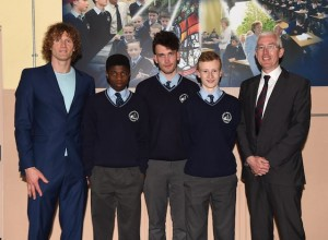Sean Coffey Principal (right) with Basketball Coach Andrew Fitzgerald and St Brendan's Basketball team Captains Brian Okwute, Ewan Weldon, and James O'Leary at St Brendan's College Student Awards 2016 on Friday. Photo by Michelle Cooper Galvin