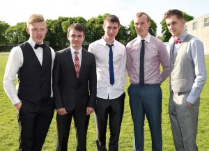Evan Cronin, Jack Spillane,e Anthony Murphy, David Carroll and Dylan O'Sullivan at the Graduation Mass in St Brendan's College, Killarney on Tuesday. Photo by Michelle Cooper Galvin