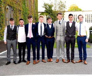 Craigh Courtney, David Naughton, David Flaherty, Ciuan Griffin, Jack O'Connor, Patrick Courtney, Adam O'Shea and Michael all former classmates in Loreto National School at the Graduation Mass in St Brendan's College, Killarney on Tuesday. Photo by Michelle Cooper Galvin